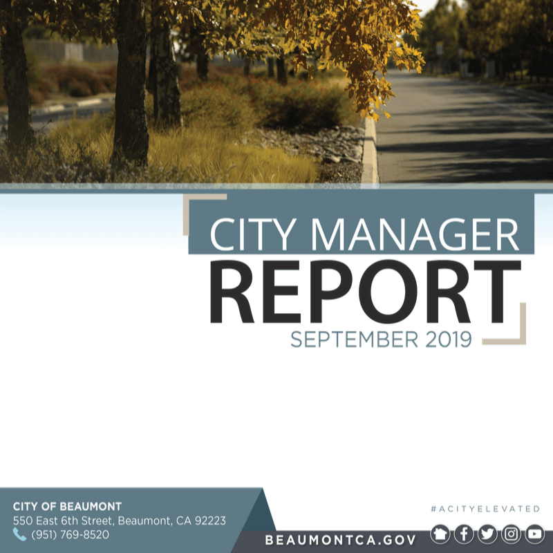 Cover of monthly City Manager Report